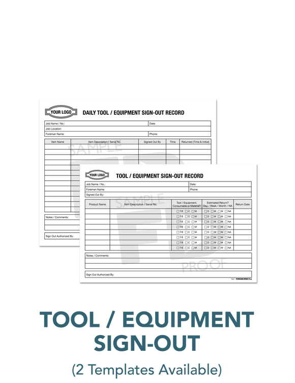 Tool Crib Equipment Sign-out Record