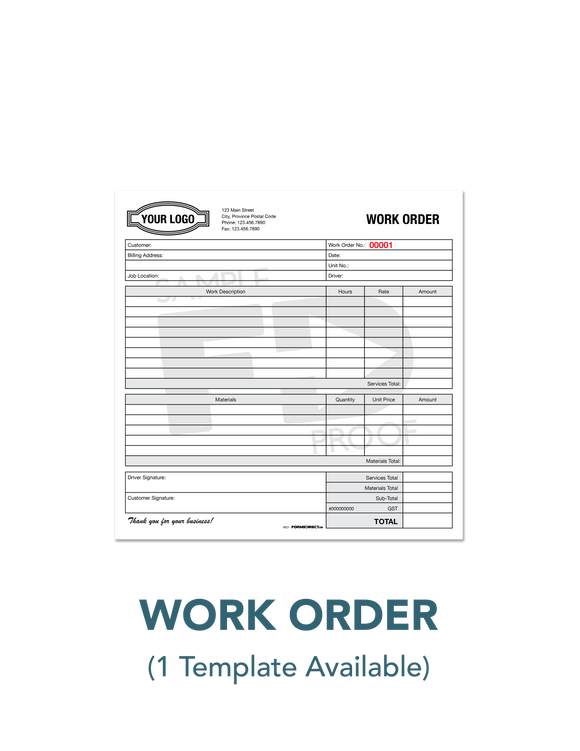 Labour Materials Work Order Invoice