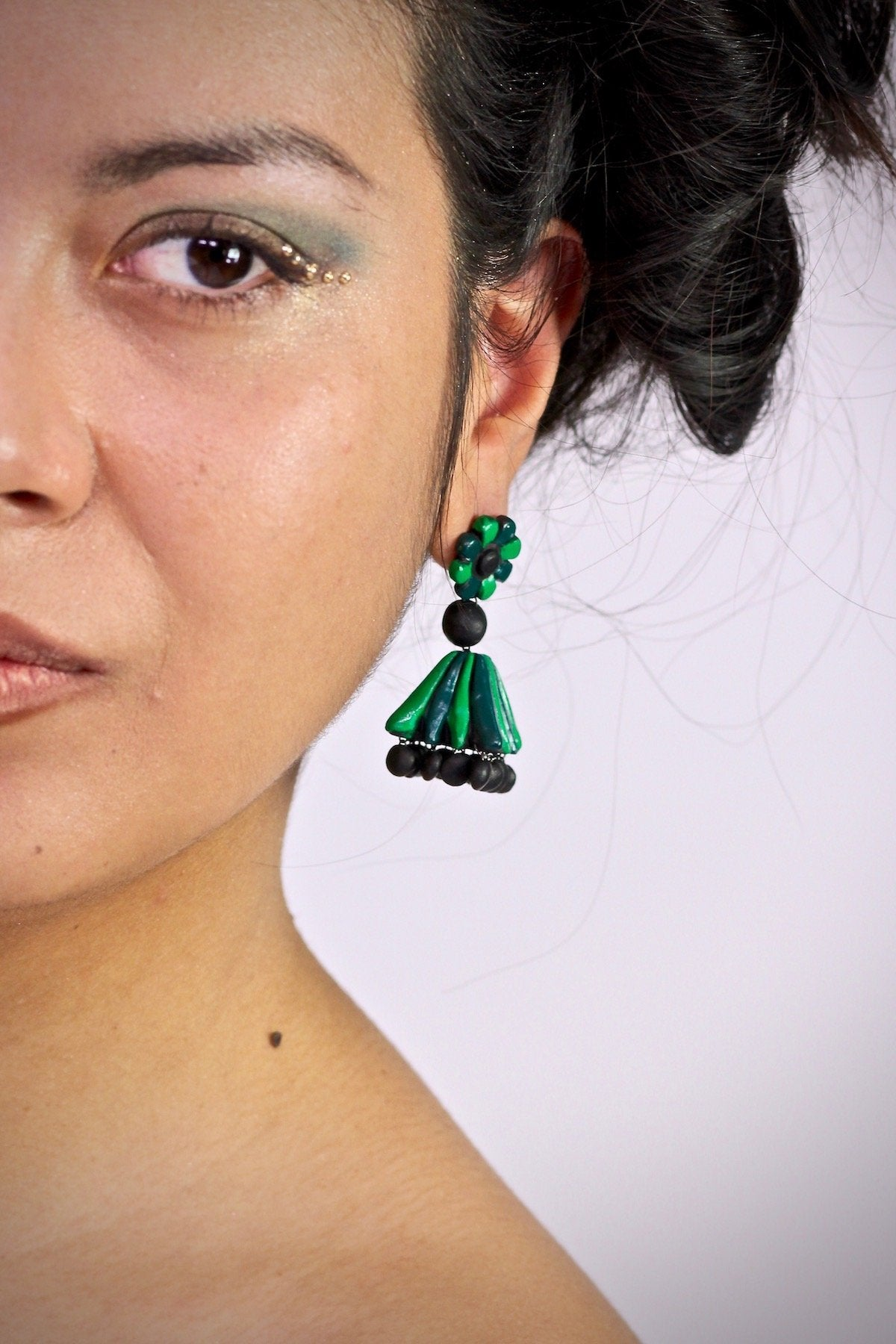 BI Green Flower - Boucles d'oreilles - Azaadi, la mode responsable accessible