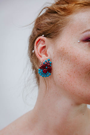 Birdy Turquoise - Dark Red - Boucles d'oreilles - Azaadi, la mode responsable accessible