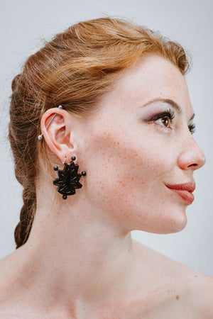 Block Lotus Noir - Boucles d'oreilles - Azaadi, la mode responsable accessible