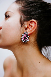 Block Lotus Rose - Blanc - Boucles d'oreilles - Azaadi, la mode responsable accessible