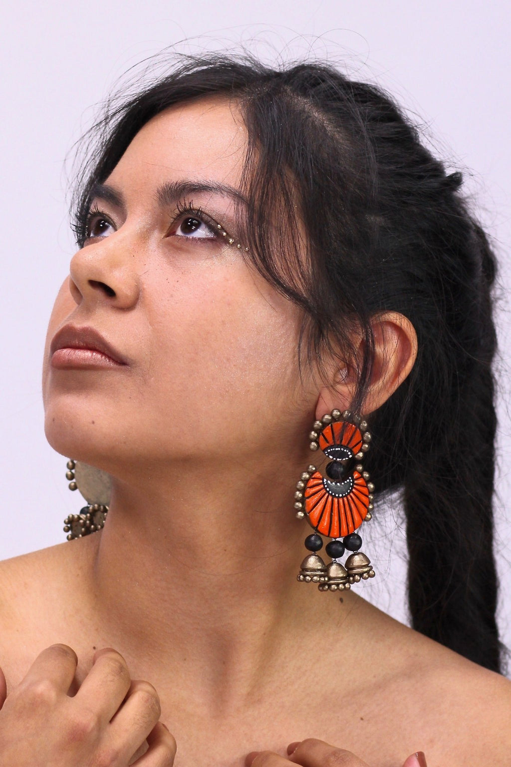 Eventail Orange - Boucles d'oreilles - Azaadi, la mode responsable accessible