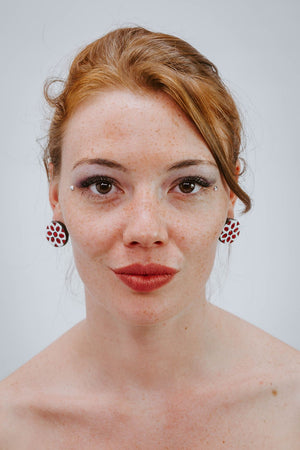 Indian Wheel Red - White - Boucles d'oreilles - Azaadi, la mode responsable accessible