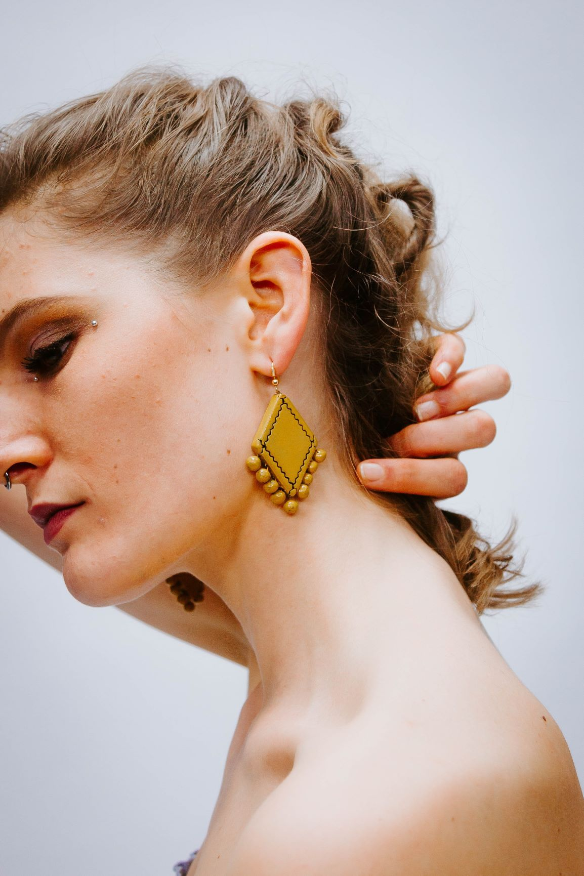 Losange Jaune Moutarde - Boucles d'oreilles - Azaadi, la mode responsable accessible