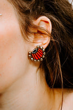 Mini Eventail Orange - Boucles d'oreilles - Azaadi, la mode responsable accessible