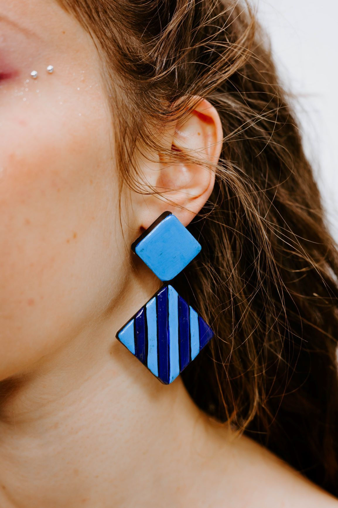 Pop Square Bleu - Boucles d'oreilles - Azaadi, la mode responsable accessible