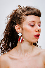 Pop Square Red - White - Boucles d'oreilles - Azaadi, la mode responsable accessible
