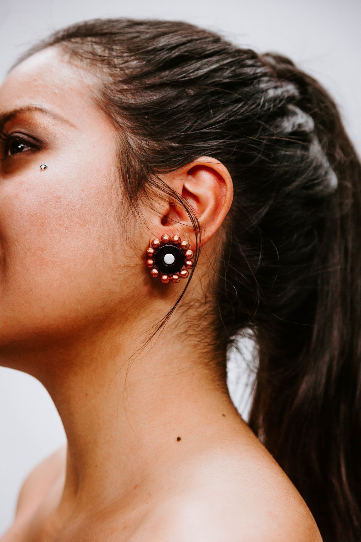 Sunflower Black - Bronze - Metal - Boucles d'oreilles - Azaadi, la mode responsable accessible
