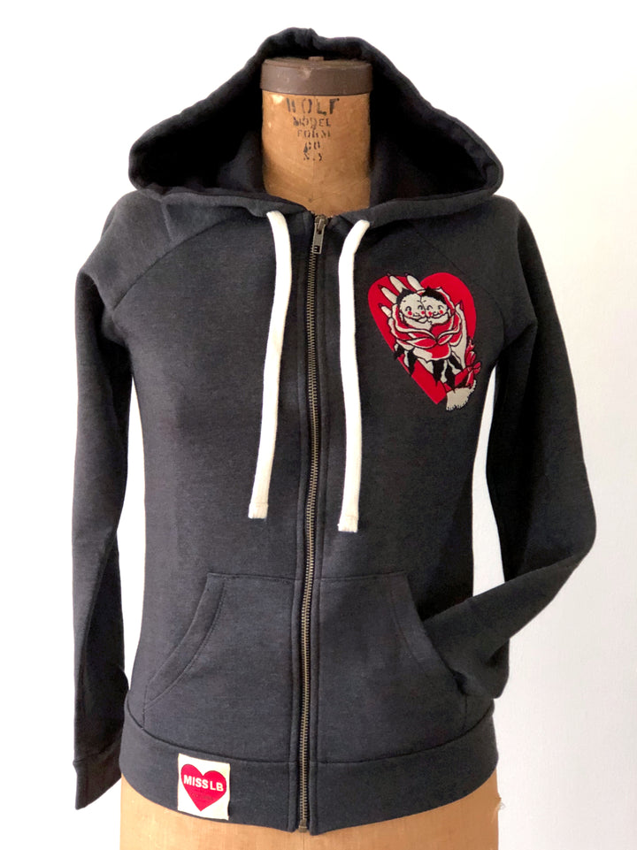 KEWPIE DOLL ROMANCE ZIP UP HOODY *CHARCOAL