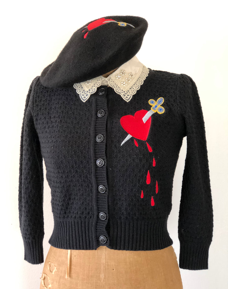 DAGGER THROUGH THE HEART CARDIGAN *BLACK