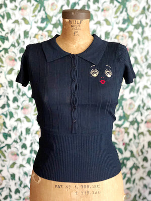 M.L DOLL FACE LOGO POLO COLLAR SWEATER *DEEP NAVY