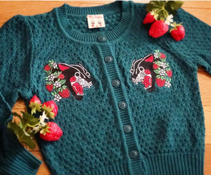 STRAWBERRY PANTHER CARDIGAN *TEAL