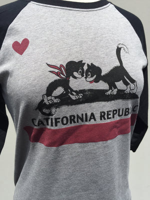 CATIFORNIA BASEBALL TEE *BLACK/GRAY