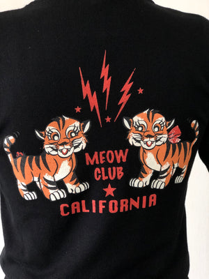 MEOW CLUB HALF SLEEVE SWEATER *BLACK