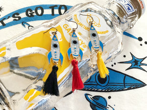 GLITTER LET'S GO TO MARS ROCKET EARRINGS WITH TASSEL