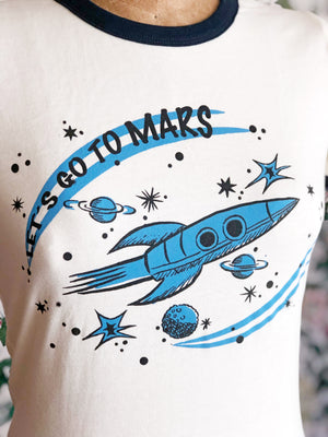 LET'S GO TO MARS RINGER TEE *NAVY-BLUE/NATURAL