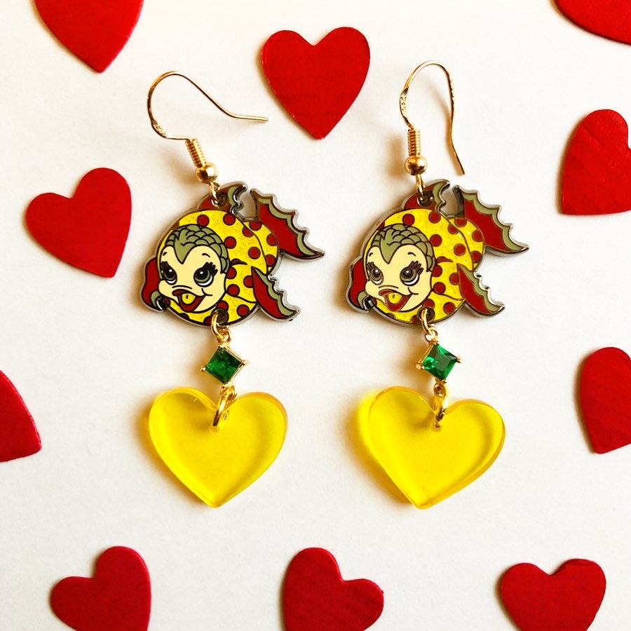 POLKA DOT FISHY EARRINGS *YELLOW HEART