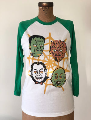 *UNISEX*WORLD FAMOUS MONSTERS BASEBALL TEE *GREEN/WHITE