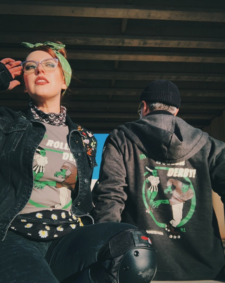 *UNISEX* BRIDE OF ROLLER DERBY ZIP UP HOODIES *CHARCOAL