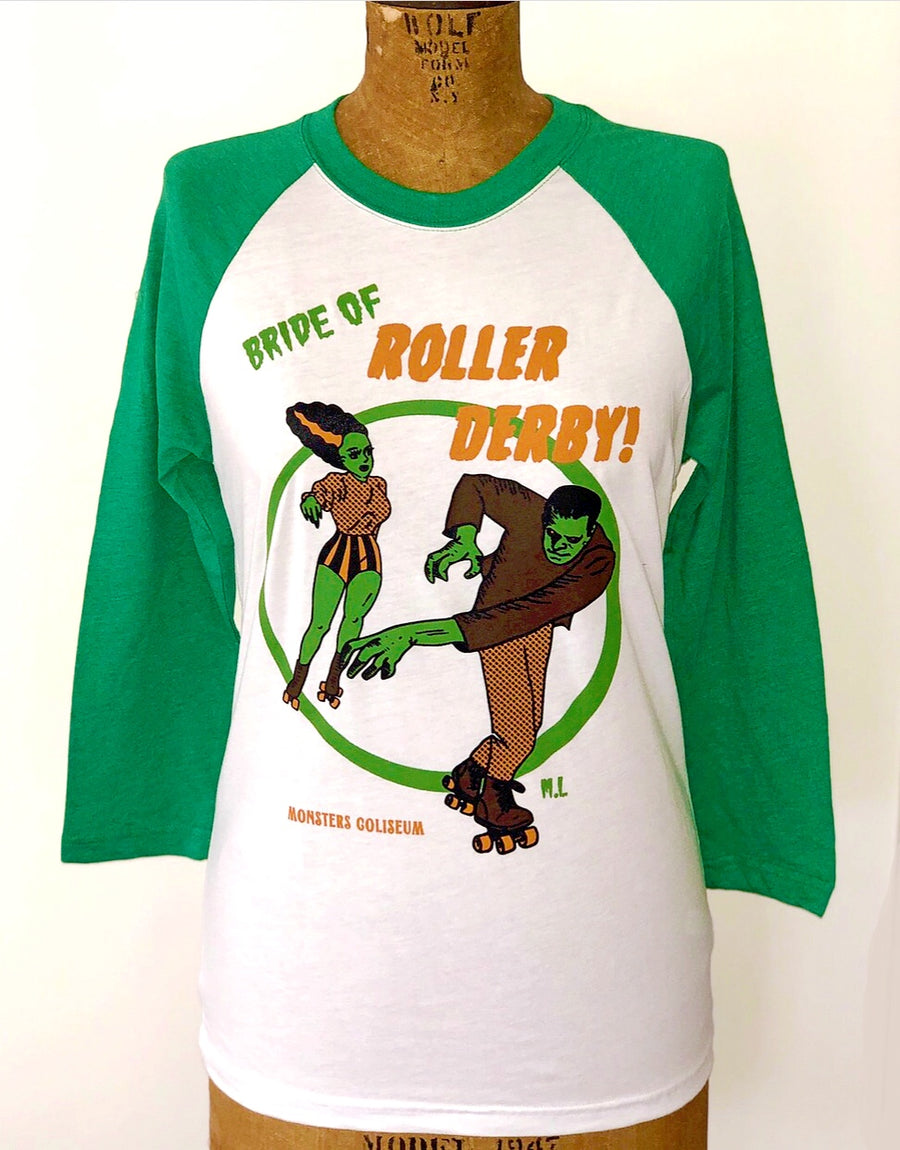 *UNISEX*BRIDE OF ROLLER DERBY BASEBALL TEE *GREEN/WHITE