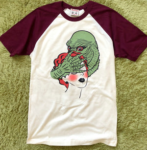 UNISEX RAGOON MONSTER RAGLAN TEE *BURGUNDY/NATURAL