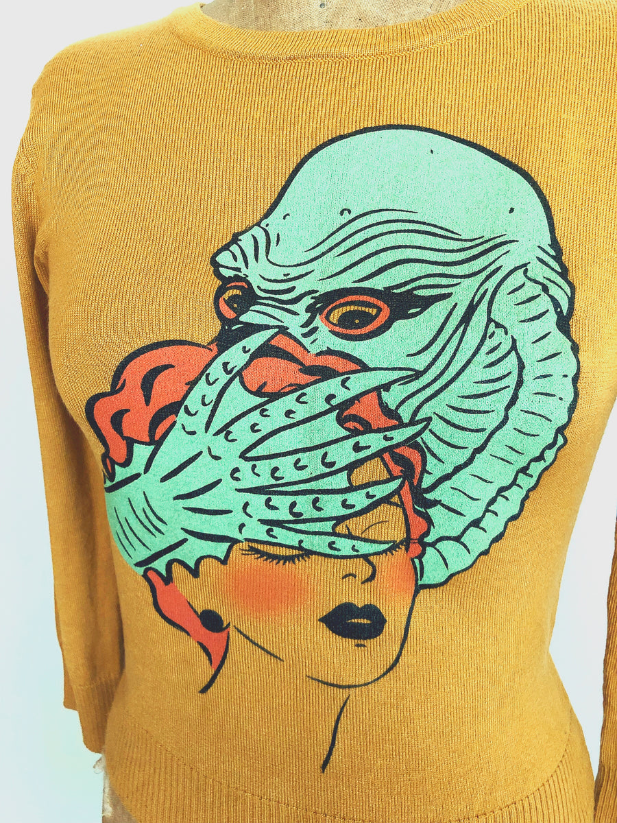 LAGOON MONSTER SWEATER *MUSTARD