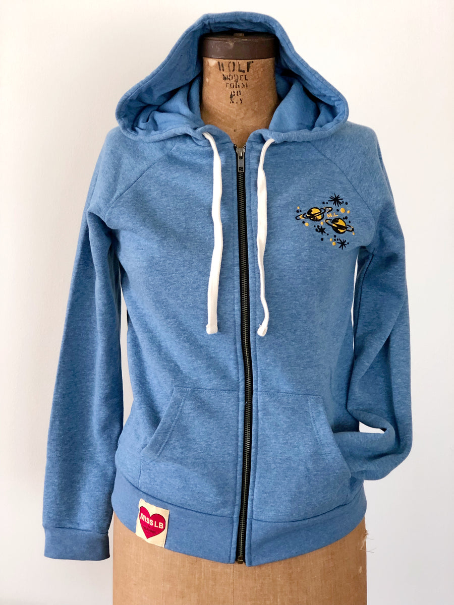 LET'S GO TO MARS ZIP UP HOODY *BLUE