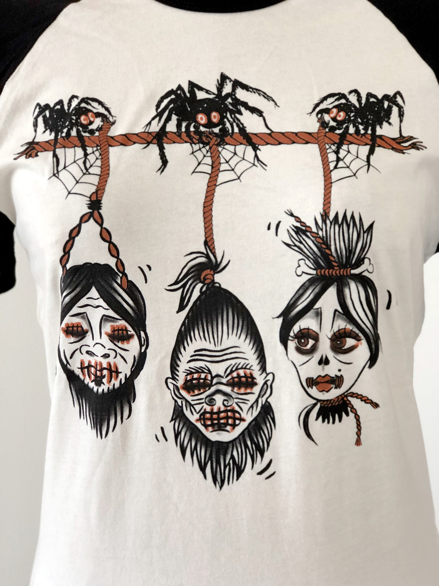 UNISEX SHRUNKEN HEAD HALF SLEEVE BASEBALL TEE *BLACK/NATURAL