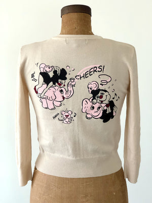 CHEERS!PINK ELEPHANT CARDIGANS *BAIGE
