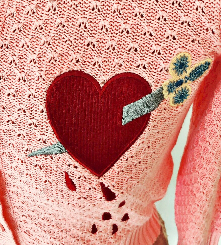 DAGGER THROUGH THE HEART CARDIGAN *PINK