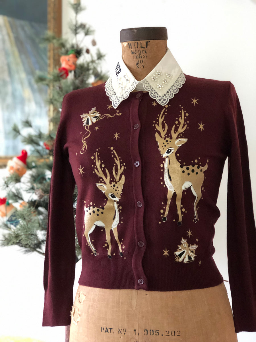 Copy of CHRISTMAS DEERS CARDIGAN*MAROON