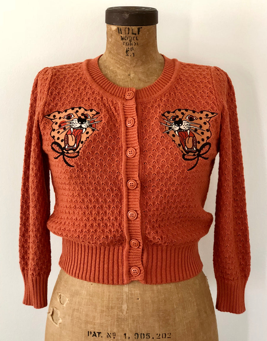 LEOPARD EMBROIDERY CARDIGANS *DUSTY ORANGE