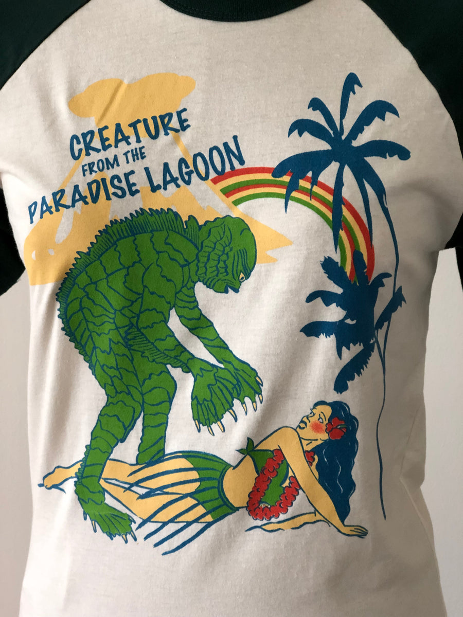 CREATURE FROM THE PARADISE LAGOON HALF SLEEVE BASEBALL TEE *GREEN/NATURAL