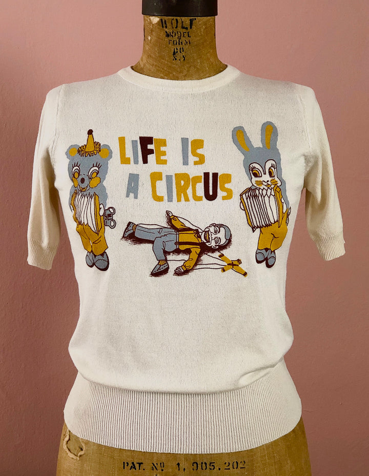 LIFE IS A CIRCUS HALF SLEEVE SWEATER *IVORY