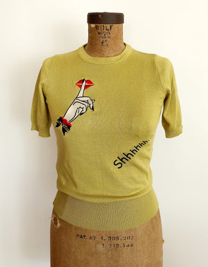 Shhh... EMBROIDERY HALF SLEEVE SWEATER *LIME YELLOW