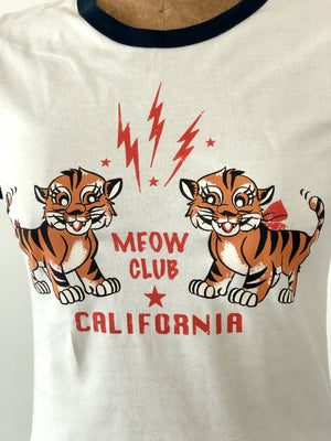 MEOW CLUB  Ringer Tee *NATURAL/NAVY