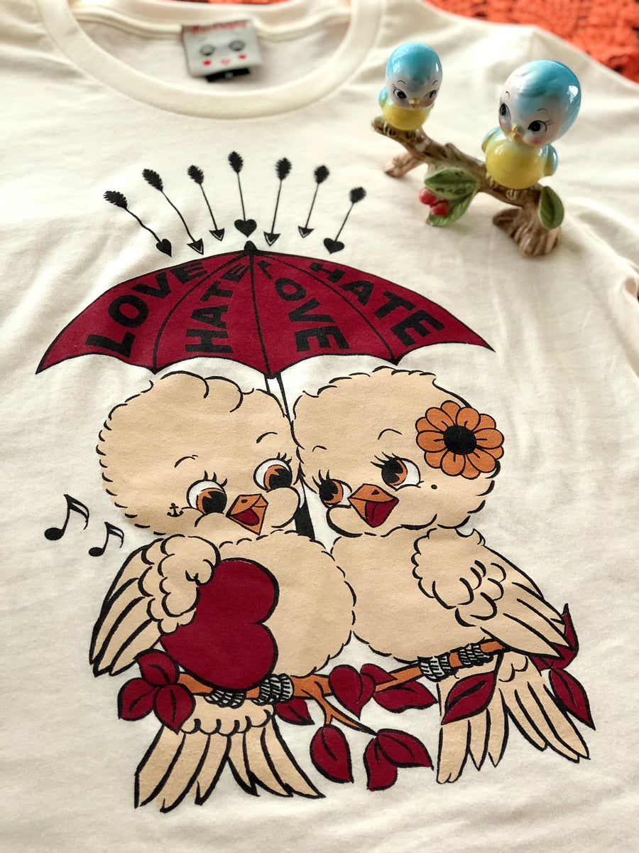 LOVE & HATE KITSCHY BIRDS TEE *IVORY