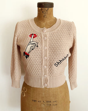 Shhh...EMBROIDERY CARDIGAN SWEATER *BABY PINKBEIGE