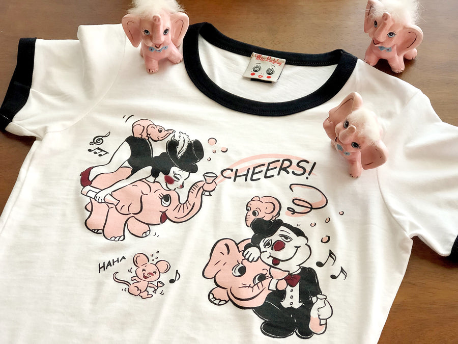 Cheers!Pink Elephant Ringer Tee *White/Black