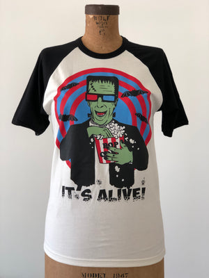 IT'S ALIVE! 3D FRANKENSTEIN HALF SLEEVE BASEBALL TEE *BLACK/NATURAL