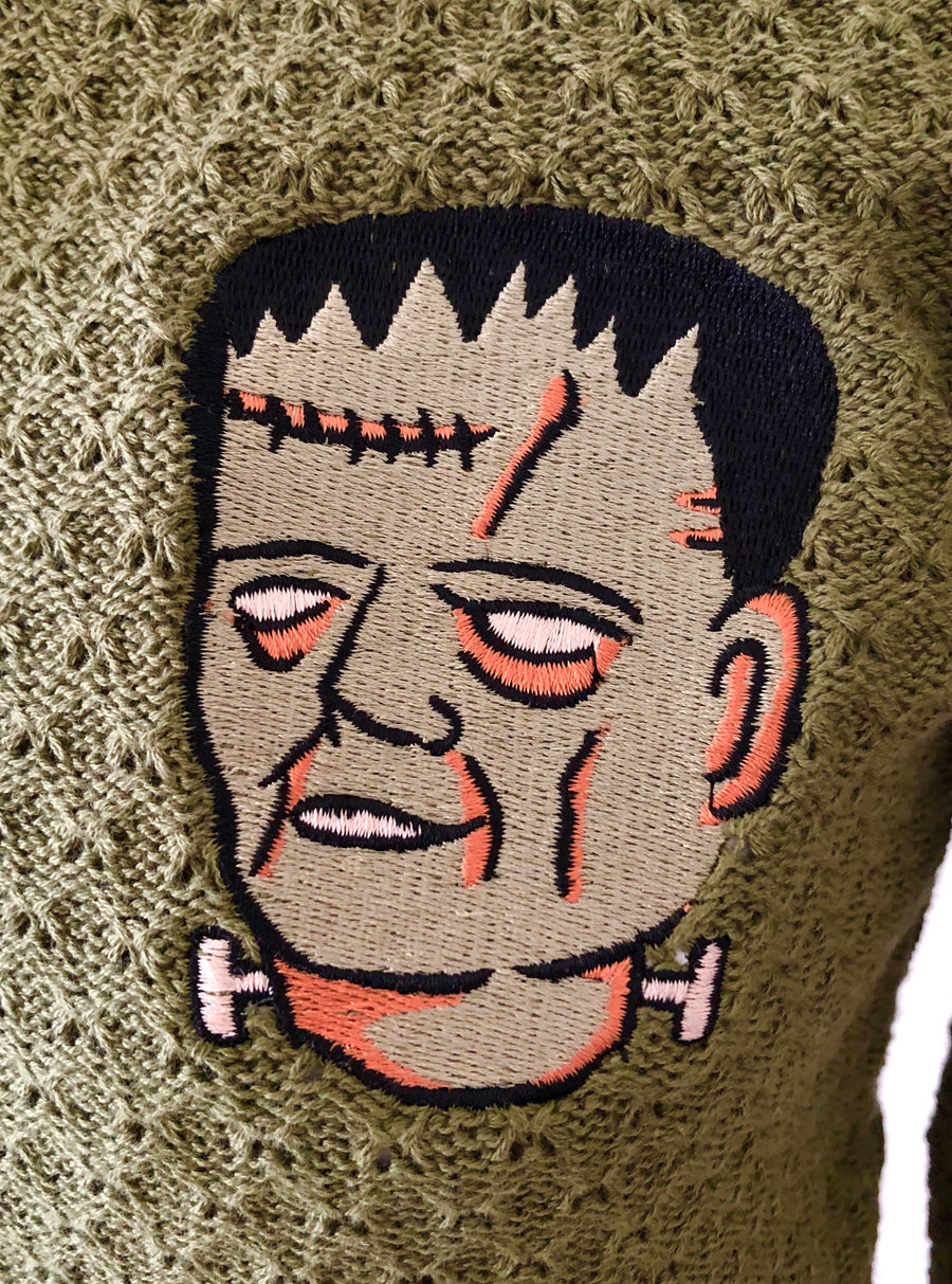 FRANKENSTEIN EMBROIDERY CARDIGAN SWEATER *SAGE