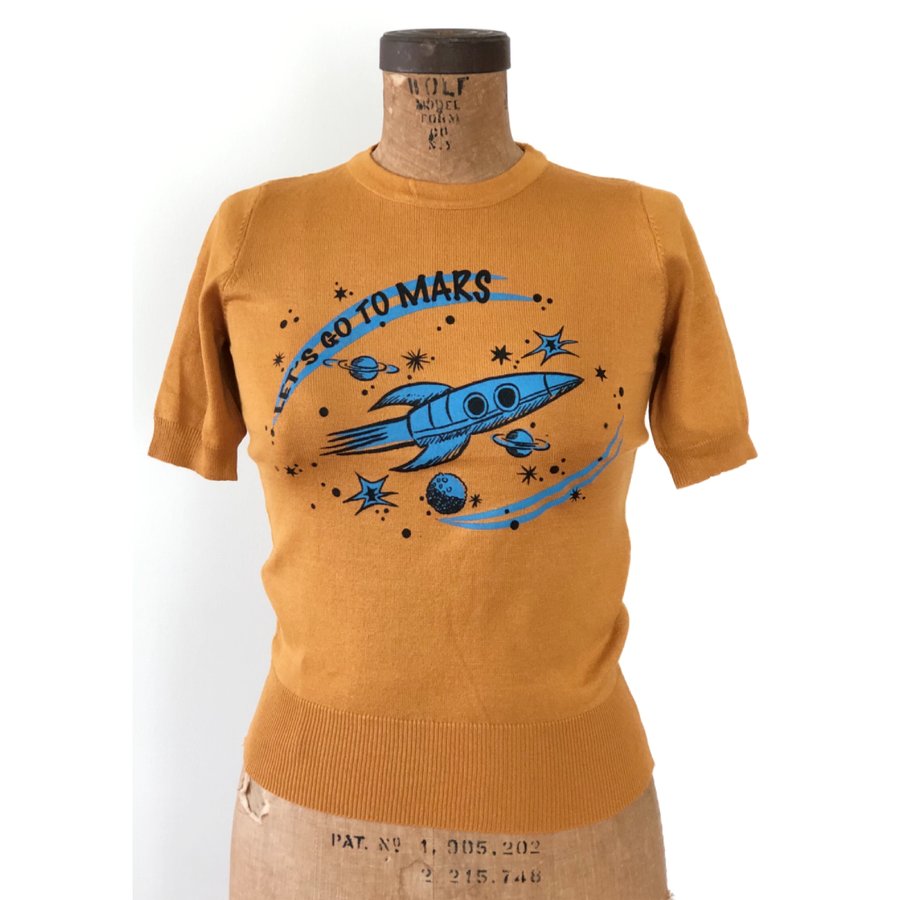 LET'S GO TO MARS HALF SLEEVE SWEATER *MUSTARD