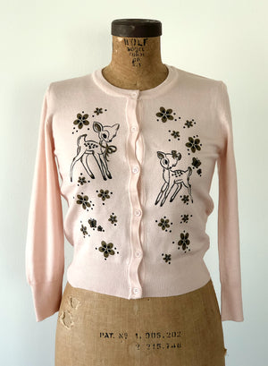 DATING DEERS CARDIGAN *BABY PINK
