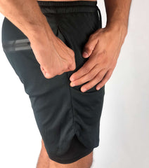 Men's Premium Shorts w/ Compression - Black - RockyGains