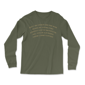 Beauty and Strength - Military Green - Unisex Long Sleeve Tee