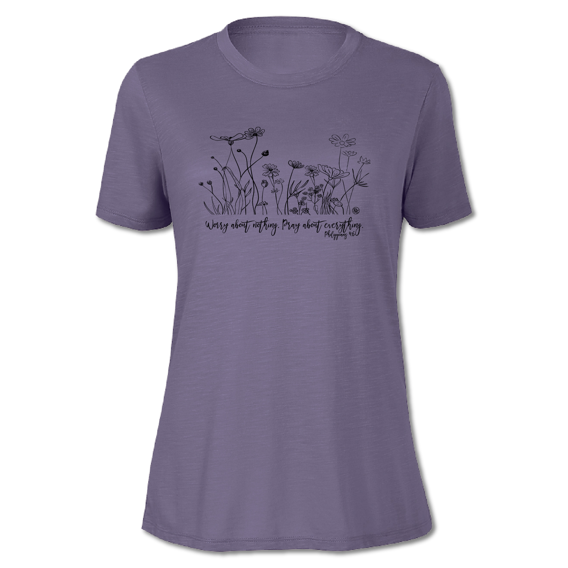 Worry About Nothing - Purple - Woman's Slub Tee