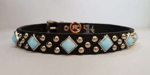 "Diamond 1/2"" Collar - Black Leather / Turquoise Stones"