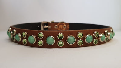 "HB 1/2"" Collar - Chestnut Leather / Green Turquoise Stones & Crystals"