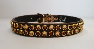 "Double Row 1/2"" Collar - Chocolate Leather / Brown Crystals"